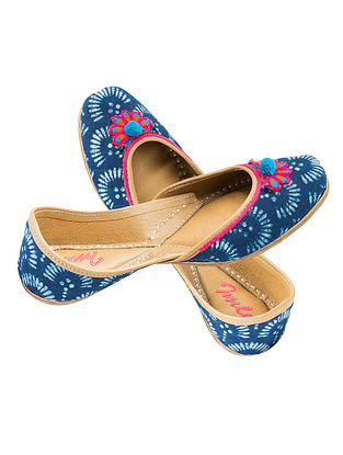 Indigo Block-printed Cotton and Leather Juttis with Pom-pom for Women