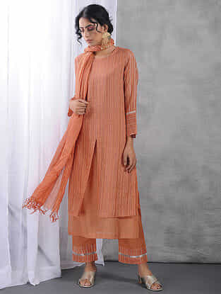 Peach Layered Zari Silk Cotton Kurta