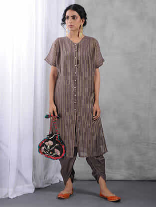 Charcoal Front-open Zari Silk Cotton Kurta with Slip