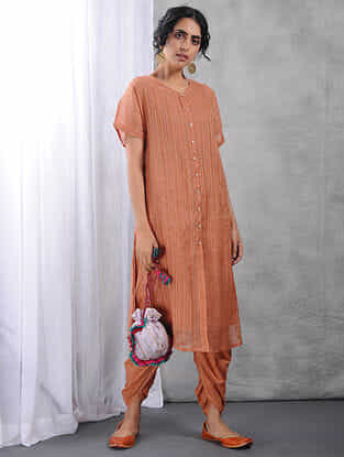 Peach Front-open Zari Silk Cotton Kurta with Slip