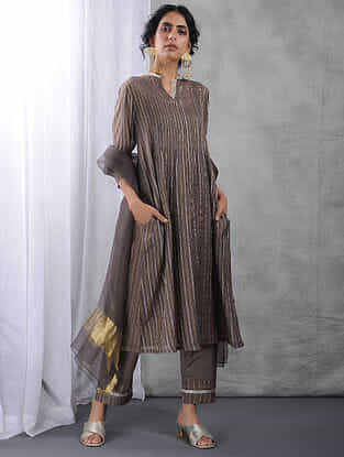 Charcoal Pintuck Zari Silk Cotton Kurta with Slip