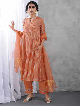 Peach Pintuck Zari Silk Cotton Kurta with Slip