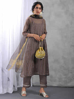 Charcoal Zari Silk Cotton Kurta with Slip