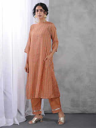 Peach Zari Silk Cotton Kurta with Slip