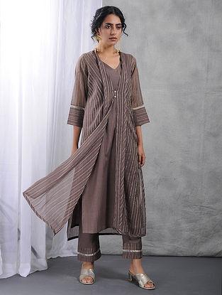 Charcoal Zari Silk Cotton Kurta with Slip