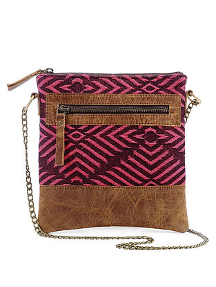 Tan-Pink Jacquard Cotton and Leather Sling Bag