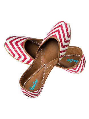 Red-White Chevron Block-Printed Cotton and Leather Jutti