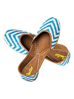 Turquoise-White Chevron Block-Printed Cotton and Leather Jutti
