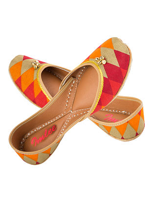 Red-Orange Hand-Embroidered Leather Jutti with Ghungroos