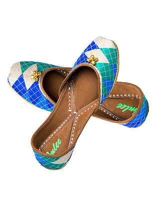 Blue-Green Hand-Embroidered Leather Jutti with Ghungroos