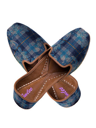 Grey-Blue Handcrafted Checkered Suede and Leather Jutti for Men