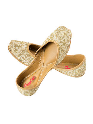 White-Beige Thread Embroidered Leather Juttis with Sequins