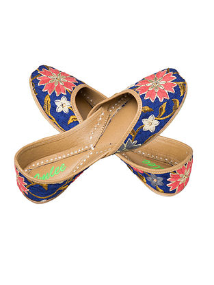 Blue-Multicolored Embroidered Silk and Leather Juttis