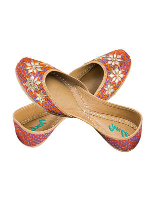 Orange-Blue Hand Embroidered Gotapatti Leather Jutti