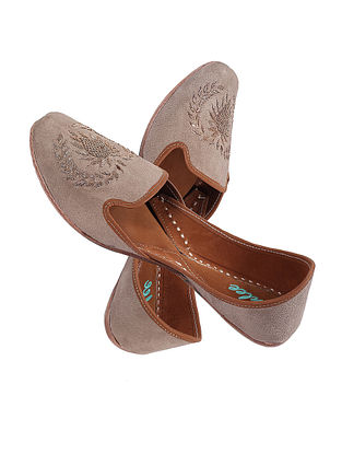 Beige-Golden Hand Embroidered Suede Leather Jutti with Zardozi Work for Men