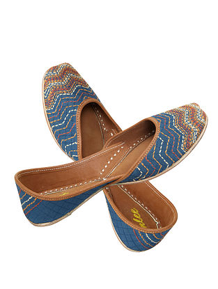 Blue-Brown Handcrafted Leather Jutti