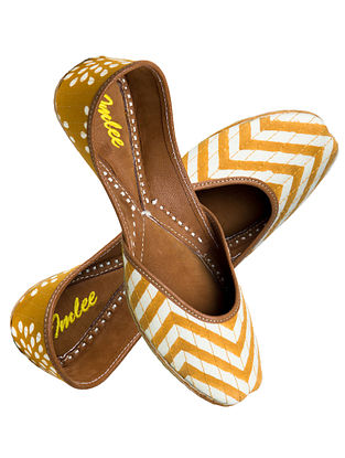 Yellow-White Chevron Block-Printed Cotton and Leather Jutti