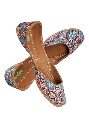 Blue-Multicolored Ajrakh-Printed Cotton and Leather Jutti