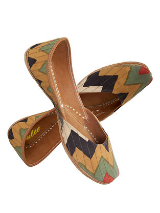 Multicolored Chevron Block-Printed Cotton and Leather Jutti
