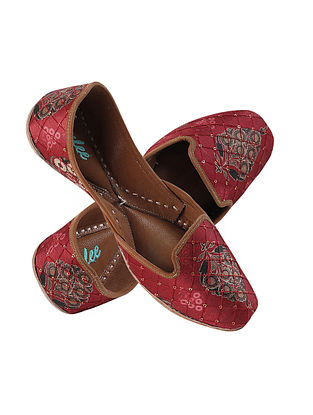 Maroon Embroidered Silk and Leather Juttis
