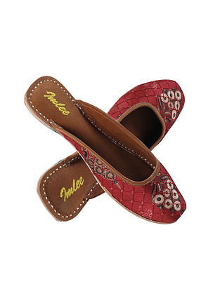 Maroon Embroidered Silk and Leather Mojaris