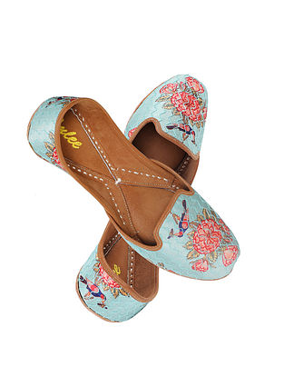 Turquoise Embroidered Silk and Leather Juttis