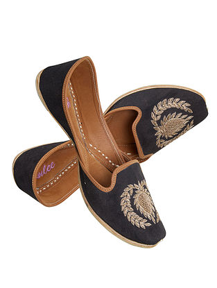 Black Gold Handcrafted Zardosi Embroidered Suede Leather Juttis for Men