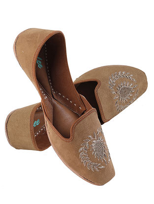 Brown Gold Handcrafted Zardosi Embroidered Suede Leather Juttis for Men