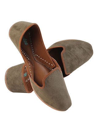 Olive Green Handcrafted Suede Leather Juttis for Men