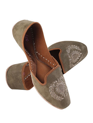 Olive Green Gold Handcrafted Zardosi Embroidered Suede Leather Juttis for Men
