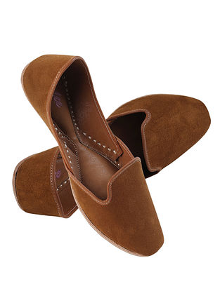 Rust Brown Handcrafted Suede Leather Juttis for Men
