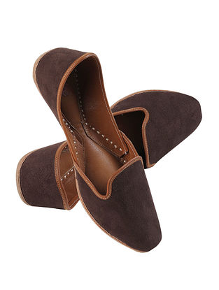 Dark Brown Handcrafted Suede Leather Juttis for Men