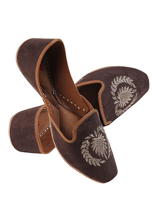 Dark Brown Gold Handcrafted Zardosi Embroidered Suede Leather Juttis for Men