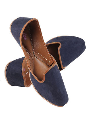 Navy Blue Handcrafted Suede Leather Juttis for Men