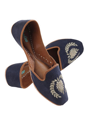 Navy Blue Gold Handcrafted Zardosi Embroidered Suede Leather Juttis for Men