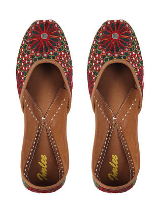 Green Red Handcrafted Mashru Silk and Leather Juttis with Mirrors