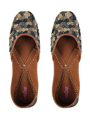 Multicolored Handcrafted Cotton Silk and Leather Juttis with Mirrors
