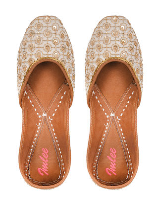 White Gold Handcrafted Zari Embroidered Chanderi Silk and Leather Juttis
