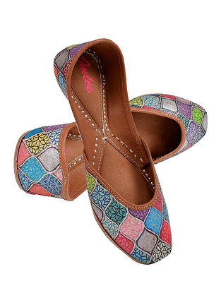 Multicolored Handpainted Leather Jutti