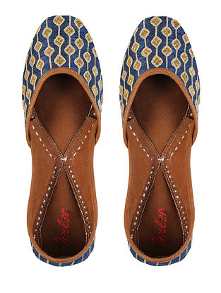 Blue Gold Gotapatti Leather Jutti