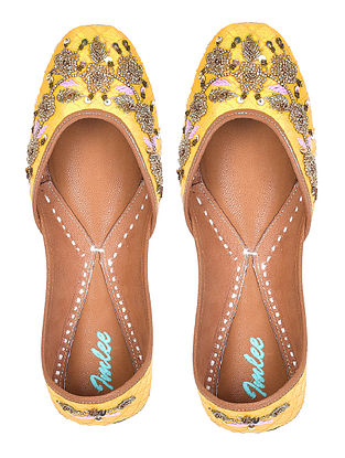 Yellow Hand Embroidered Leather Jutti