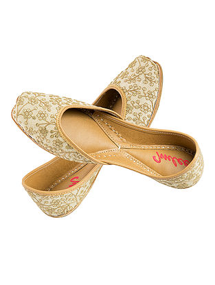 Beige-Gold Sequin and Thread Embroidered Silk and Leather Juttis for Women