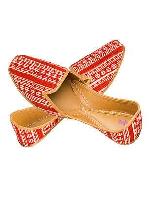 Orange-Beige Printed Cotton and Leather Juttis for Men