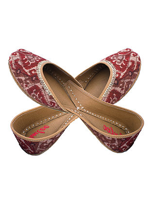 Rust-Brown Zari Embroidered Patola Printed Silk and Leather Juttis for Women