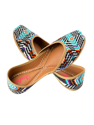 Multicolored Handcrafted Cotton and Leather Juttis