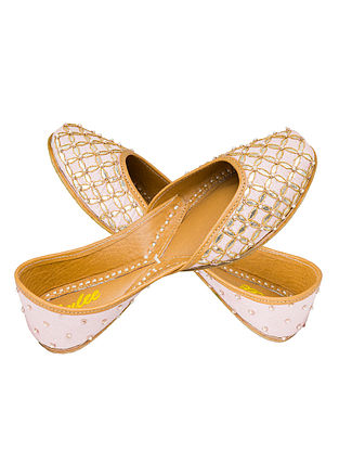 Pink-Silver Gota Patti Embellished Silk and Leather Juttis