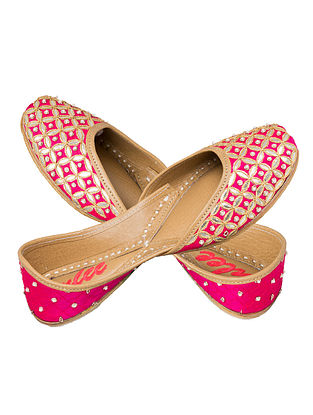 Fushcia Pink-Silver Gota Patti Embellished Silk and Leather Juttis