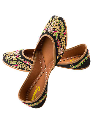 Black Gota Embroidered Silk and Leather Juttis
