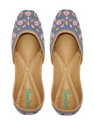 Blue-Multicolored Hand-Embroidered Chambray and Leather Juttis