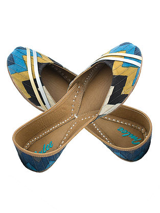 Blue-Mustard Chevron Printed Cotton and Leather Juttis